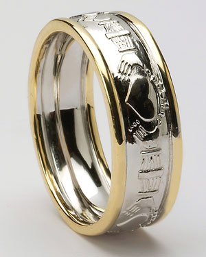 Claddagh Court Two Tone Wedding Bands